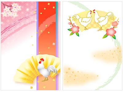 赤ずきんちゃんのかわいい鶏の年賀状素材