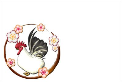 チャボを梅の花枠で囲ったデザイン性のあるイラスト