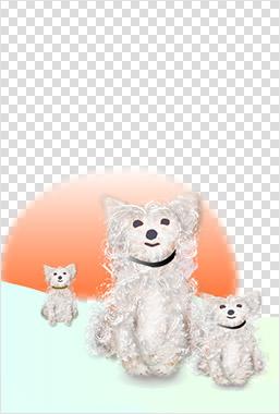 全体がナチュラルグリーンで、シンプルな犬のイラスト入り