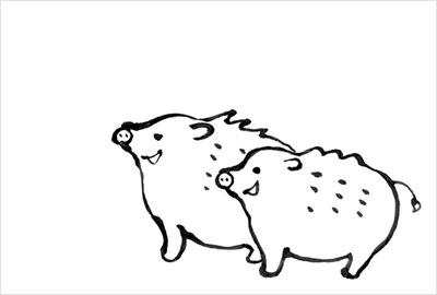 手書き風のイノシシイラスト