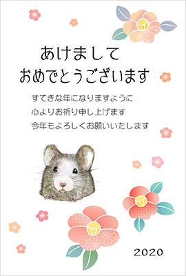 花に囲まれたネズミ