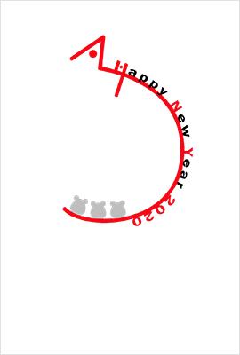 こちらもシンプルなねずみイラストのデザイン