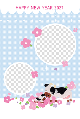 可愛らしい仔牛がお眠りしているイラスト入り写真テンプレート